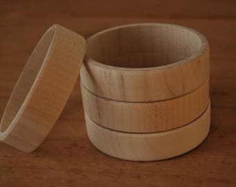 Set 4 Wooden Flat Bangles 2 cm high for decoupage