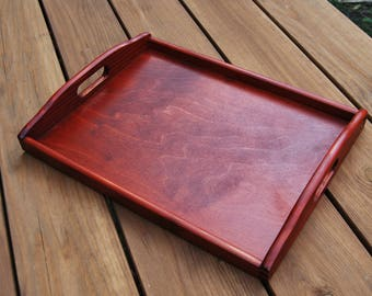 Wooden Serving Tray 40cmx30cmx5.5cm in Burgundy Color