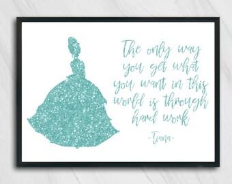 Disney Princess Tiana Quote Inspirational Art Prints A4