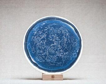 STAR MAP Birch wood wheel, hand drawn print by Irish artist Emily Robyn Archer