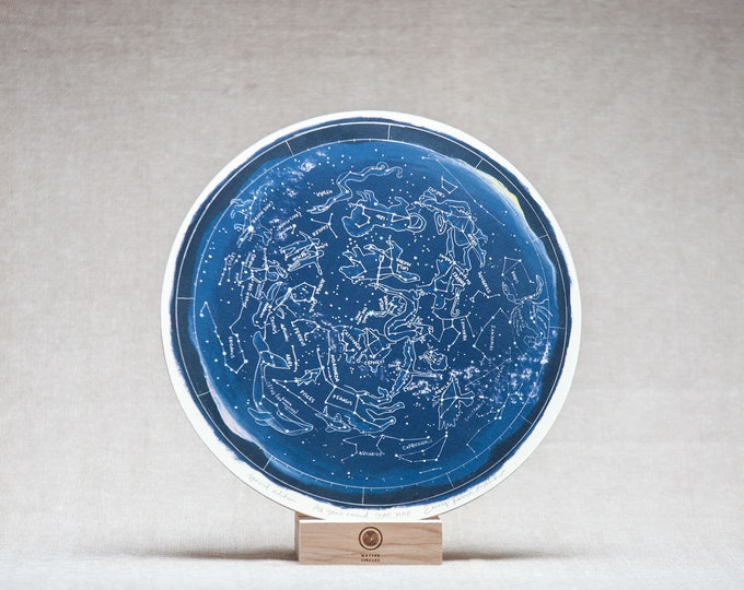 STAR MAP Birch wood wheel, hand drawn print by Irish artist Emily Robyn Archer