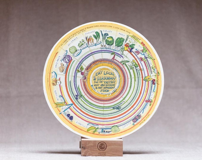 Seasonal Food Calendar - 'Native Circles' Birchwood Wheel by Irish artist Emily Robyn Archer