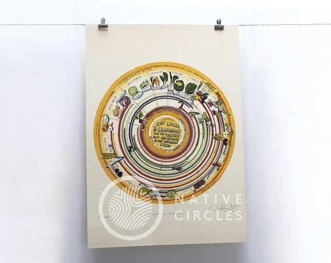 Seasonal Food Calendar - Limited Edition 'Native Circles' Print by Irish artist Emily Robyn Archer