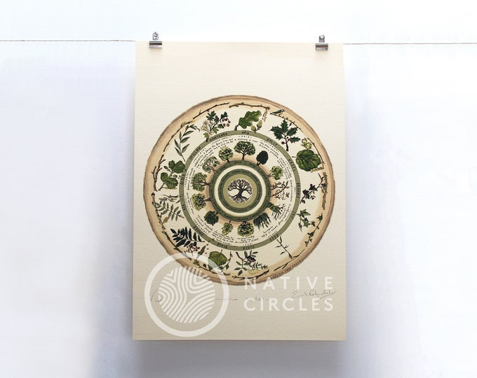 Celtic Tree Calendar - Limited Edition 'Native Circles' Print by Irish artist Emily Robyn Archer