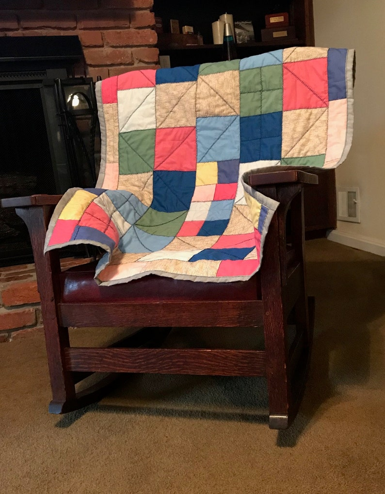 Hand Quilted Patchwork Baby or Lap Blanket