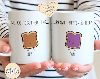 We Go Together Like Peanut Butter and Jelly - Couple Mug Set, valentine gifts for boyfriend, gift ideas for her, cute gift for girlfriend
