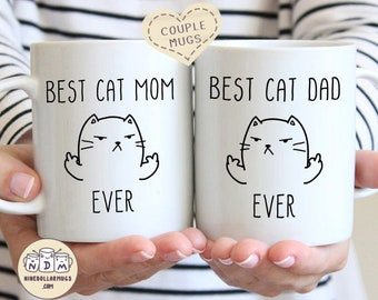 Best Cat Mom / Dad Ever, mug set for couple, funny gift, gift for couple, gift for him and her, his and hers mug, couple cups