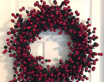 Holiday Grapevine Wreath with Berries and Silver