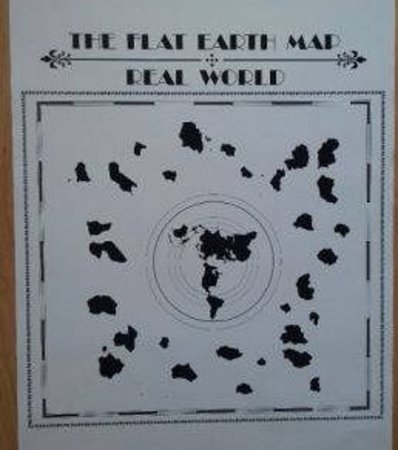 Poster The Flat Earth Map Real World Etsy