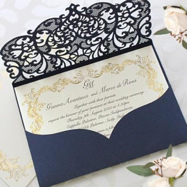 WEDDING INVITATIONS WITH ENVELOPES POCKET LASER CUT SET DIY 50 100 NAVY BLUE