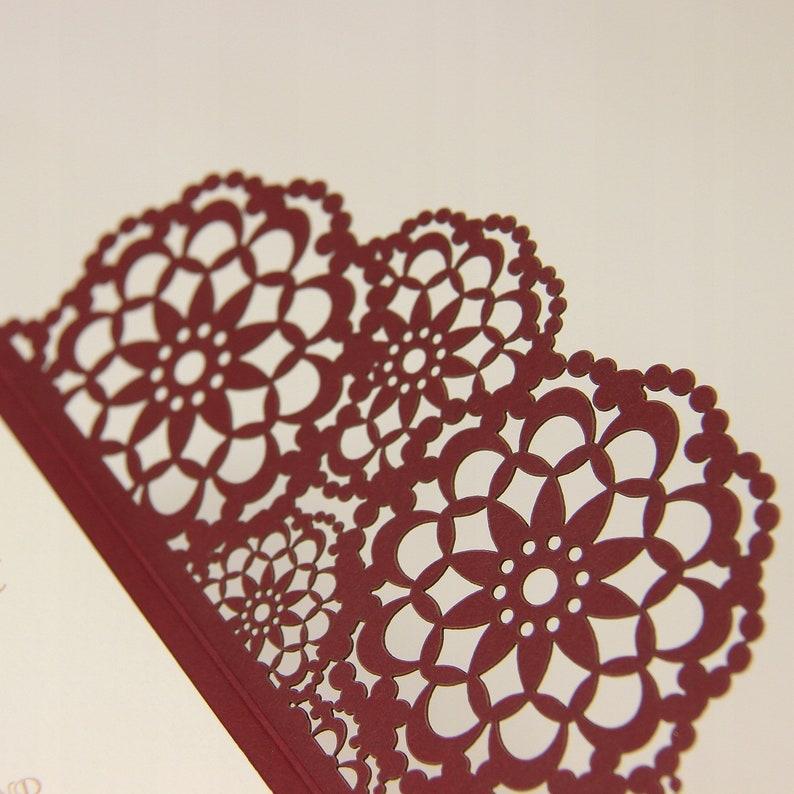 SAMPLE! Elegant Burgundy Wedding Invitations with template Laser cut floral invitation with cream  printable insert DIY etsy kit