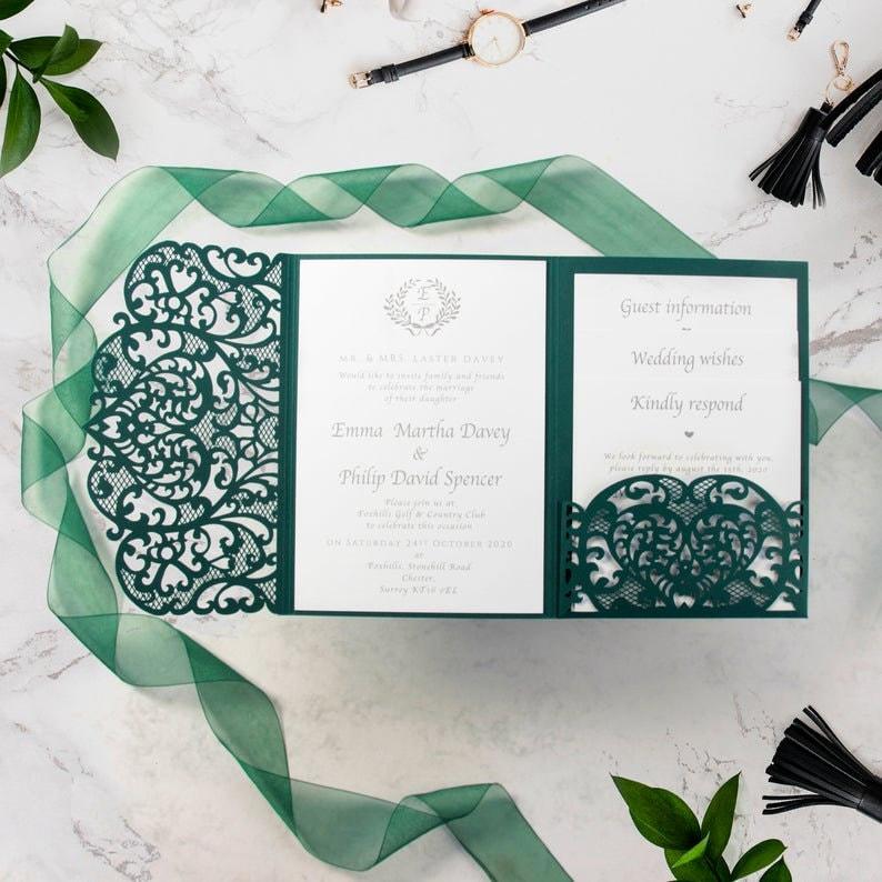 Ornamental Cream Rose Gate Laser Cut Invitations with Envelopes and Elegant Rose Gold Foil Confetti Motive Invitation Cards Set DIY Lace Kit Sample!