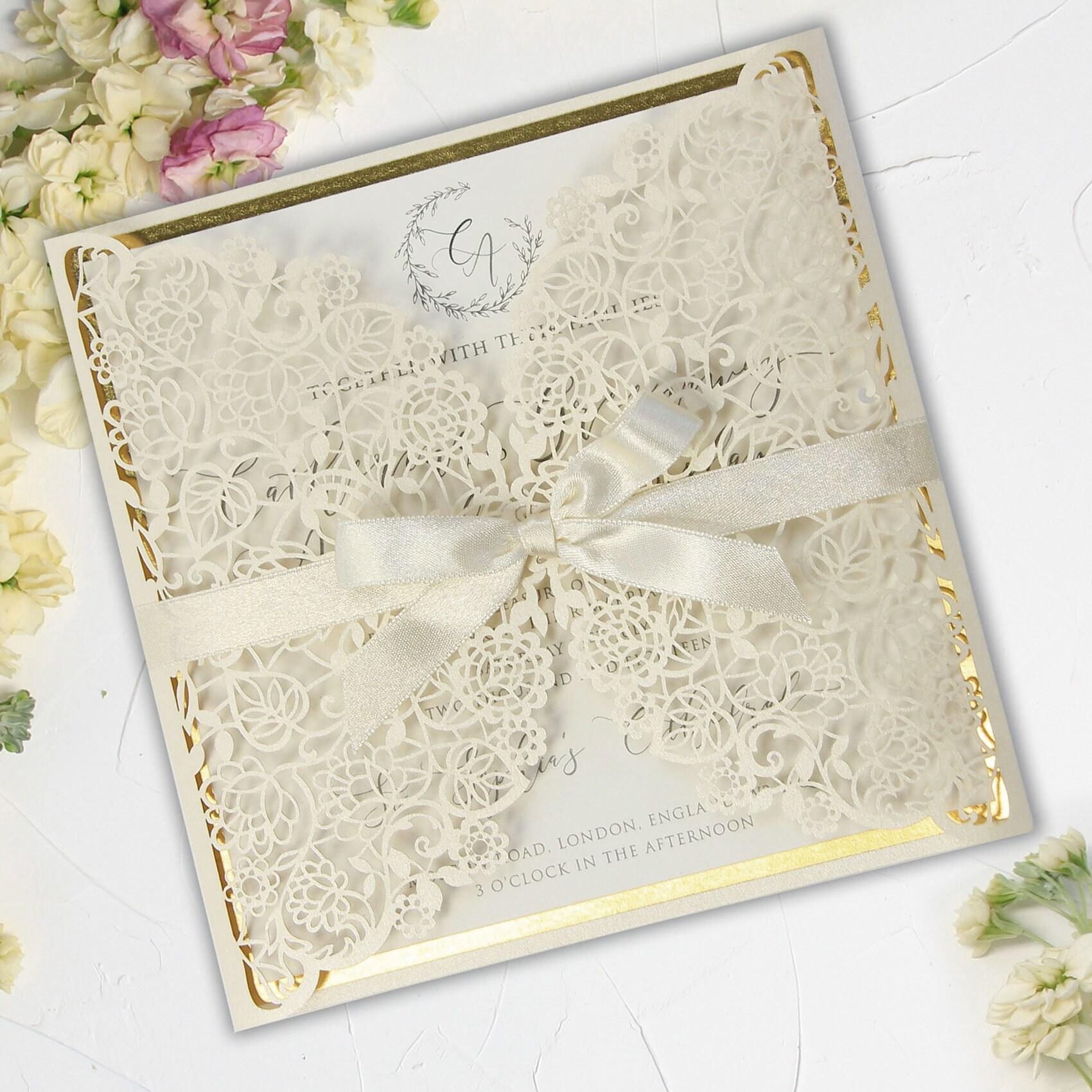 Laser Cut Gatefold White Gold Foil White Silk Ribbon DIY Kit | Etsy