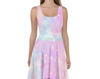 250ea541d9 Galaxy Dress Fairy Kei Skater Dress Skater Skirt Galaxy Skirt Pastel Goth  Clothing Soft Grunge Rainbow Dress Rainbow Skirt Pastel Clothing