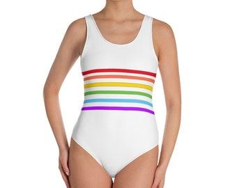 08235d8a70 80s Clothing Rainbow Stripe Body Suit One Piece Swimsuit Bathing Suit LGBT  Pride Trans Pride Bi Pride Asexual Pride Pan Pride Lesbian Pride