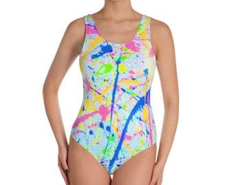 3b8c378e9f18a 80s Clothing Neon Paint Splatter Bodysuit Women Rainbow One Piece Swimsuit  Retro 80s Bathing Suit Plus Size Splatter Paint Festival Clothing