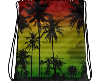 61884d483643 Rasta Ombre Tie Dye Drawstring Backpack Women Punk Hippie Clothes Tropical Palm  Tree Print Rainbow African Clothing Rave Clothing Festival