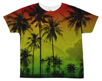 f2d89a67c28 Rasta Clothing Palm Tree Print Tropical Leaves Kids Toddler Hawaiian Shirt  Tie Dye Shirt Punk Shirt Jamaica Reggae Dance Costumes Aesthetic