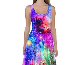 15faac58b2 Galaxy Dress Galaxy Skirt Skater Dress Skater Skirt Circle Skirt Rainbow  Dress Rainbow Skirt Pastel Goth Soft Grunge Kawaii Dress Fairy Kei