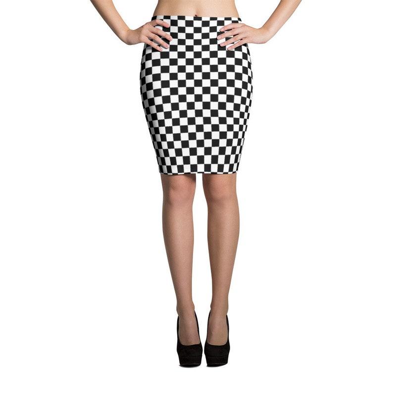 839232dade10e Masonic Checkerboard Chess Board Spandex Pencil Skirt Punk Ska