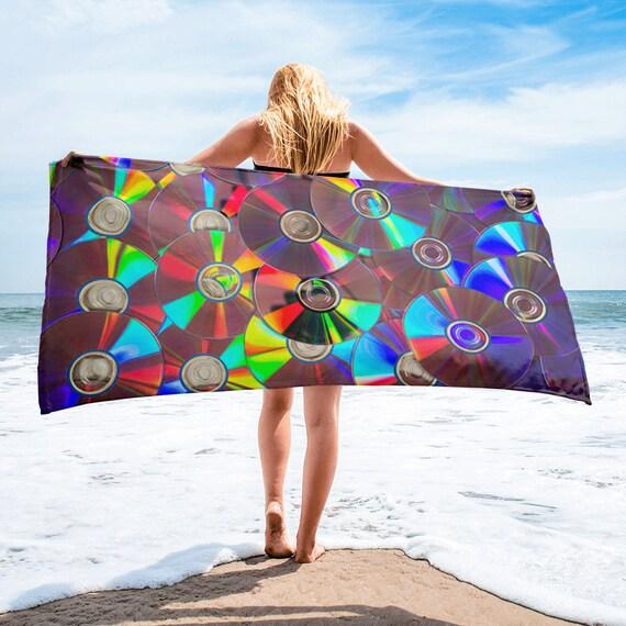 80s Clothing 90s Hip Hop Clothing Rainbow Music Cd Beach Towel Etsy