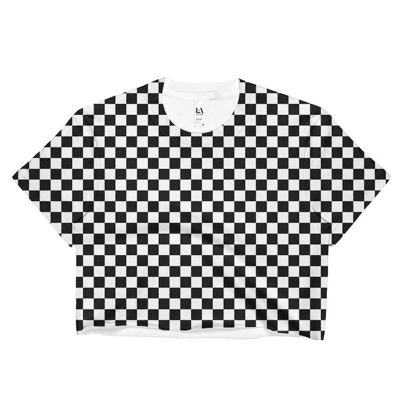 0748bd67f37ba Masonic Checkerboard Chess Board Crop Top 80s 90s Punk Ska