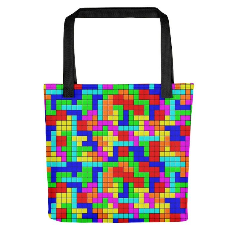 Arcade Sega NES Video Game Art Custom Tote Bag Beach Bag Shopper Bag Yoga Bag Grocery Bag Produce Bag 80s Clothing Tetris Rave Outfit