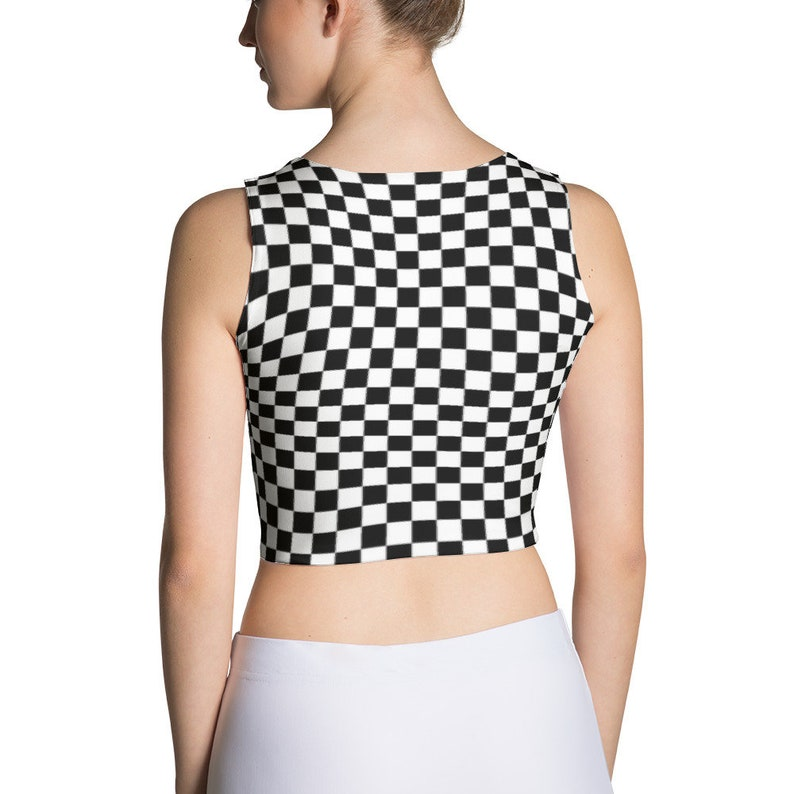 5b3fed16d3741 Masonic Checkerboard Chess Board Spandex Crop Tank Top Punk