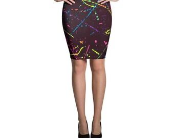 80s Clothing Neon Paint Splatter Rainbow Pencil Skirt Retro 80s Splatter Paint Festival Clothing Rave Clothing Burning Man Vintage