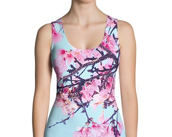 Sakura Cherry Blossom Spandex Womens Tank Top Vaporwave Aesthetic Clothing 90s Clothing Floral Flowers Kawaii Clothing Japanese Clothing