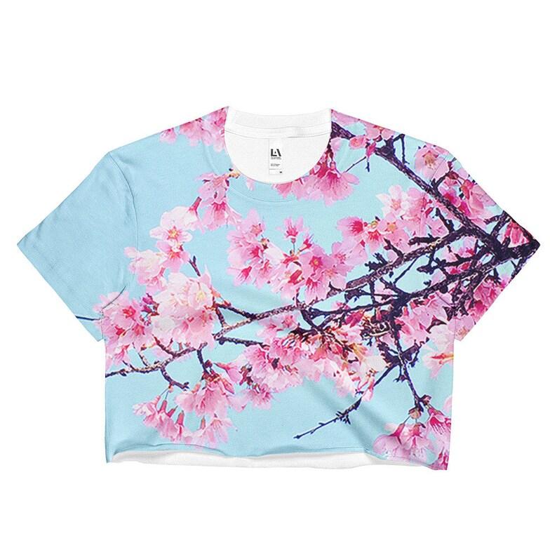 9245f32dae9560 Sakura Cherry Blossom Crop Top Vaporwave Aesthetic Clothing