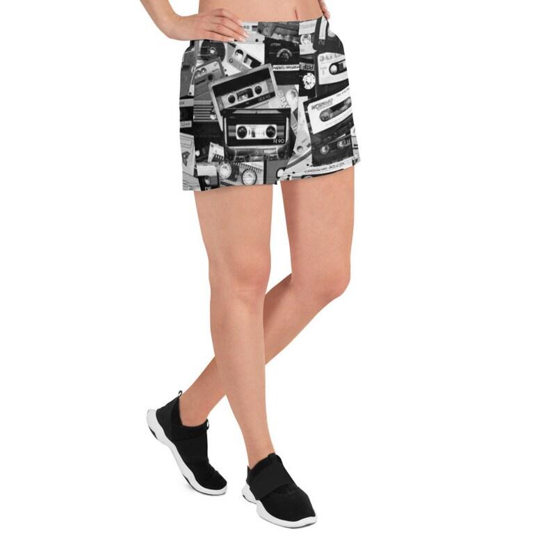 Cassette Tape Running Shorts Bike Shorts Yoga Shorts Rave Shorts Pole Dance Shorts Roller Derby Sport Shorts 90s Hip Hop Clothing Rave Wear