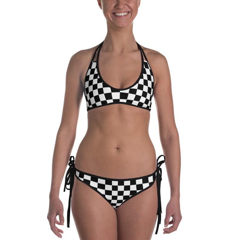 df27e497683a1 Masonic Chess Board Spandex Bikini Swimsuit Bathing Suit Punk