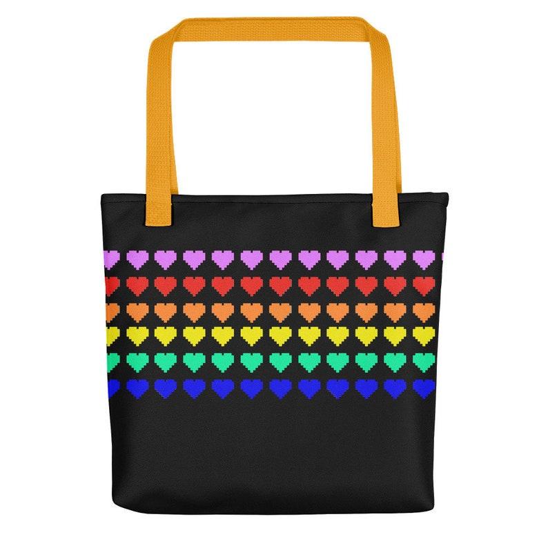 Fair Isle Pixel Art Rainbow Stripe Custom Tote Bag Beach Bag Shopper Bag Grocery Bag Produce Bag LGBT Pride Trans Pride Bi Pride Pan Pride