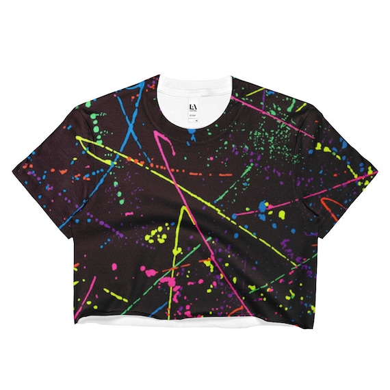 80s Clothing Neon Rainbow Shirt Paint Splatter Crop Top Retro   Etsy 792344d362
