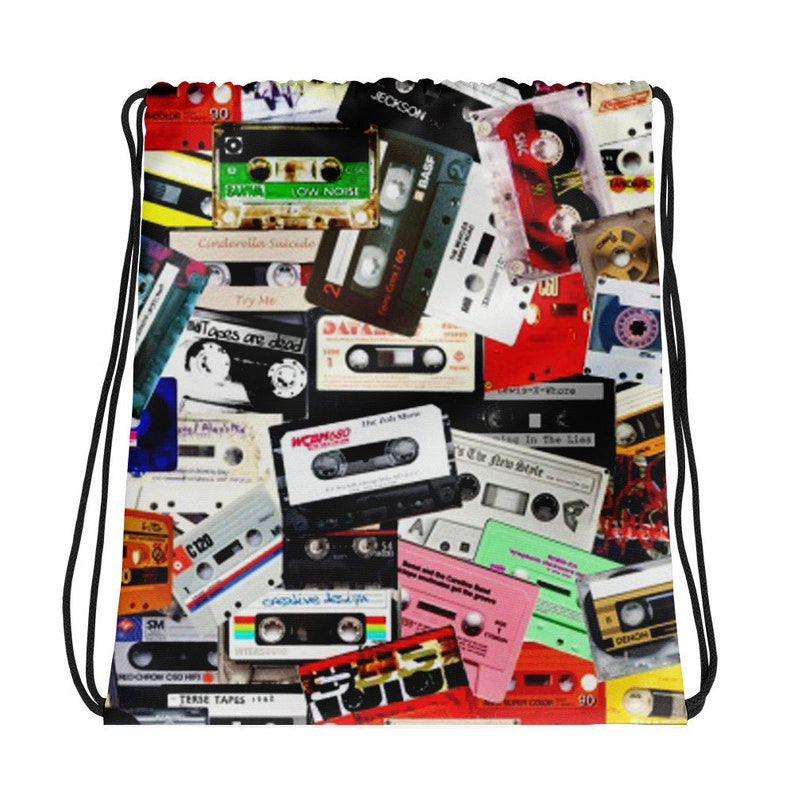 Cassette Tape Drawstring Backpack Women Hipster Backpack Men Small Backpack  Mini Backpack 80s Clothing Vaporwave Aesthetic Clothing
