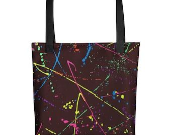 80s Clothing Neon Paint Splatter Rainbow Beach Bag Tote Bag Retro 80s Splatter Paint Festival Clothing Rave Clothing Burning Man Vintage
