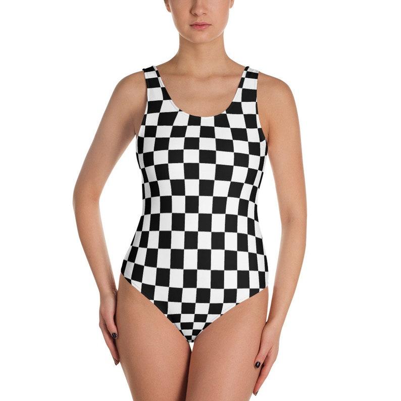 34d825a881ddb Masonic Chess Board Bodysuit Women One Piece Swimsuit Bathing
