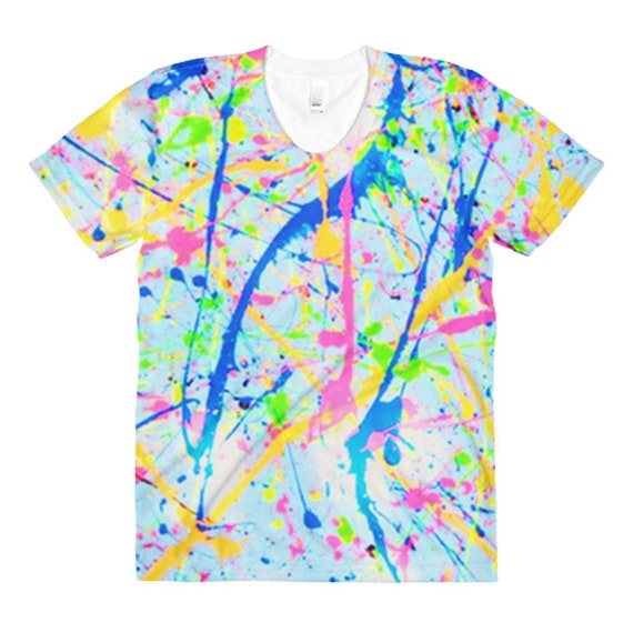 Best Seller 80s Clothing Neon Paint Splatter Womens Kawaii Shirt Splatter  Paint Vaporwave Aesthetic Clothing Dance Costumes Rave Outfit