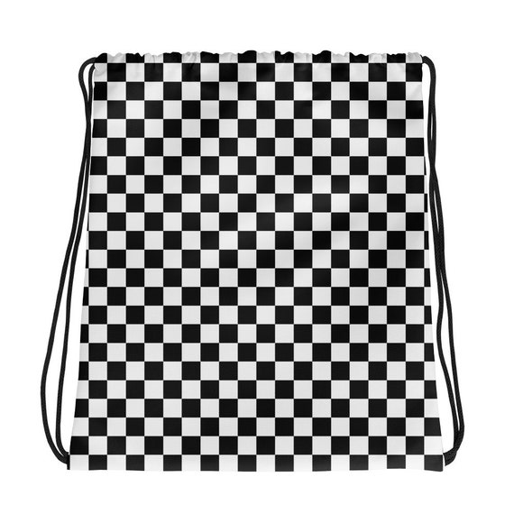 4677cb47b5 Masonic Checkerboard Chess Board Drawstring Backpack Women