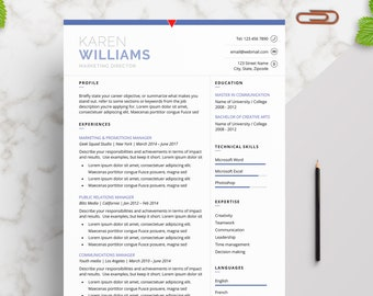 Professional | Elegant Resume Template for Word | Modern Resume Design | CV Template for Word | 2 Page Resume + Cover Letter + References