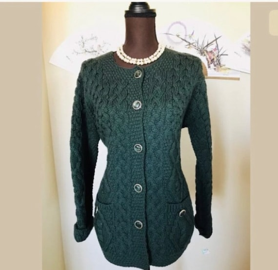 Aran Crafts Vintage Wool Merino Cable Knit Button