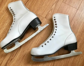 Sheffield Steel Canada White Lace Up Womens Figure Ice Skating Skates sz 5