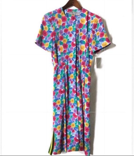 Vintage Liz Claiborne Button Floral Dress