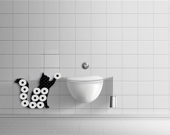 Playful Cat Toilet Paper Holder, Wall Storage, Small Space Storage