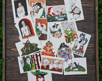 16 original fairytale graphic print postcards from the artist