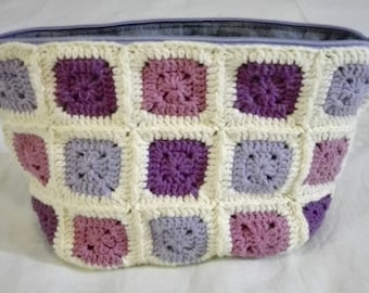 crochet patchwork zippered pouch