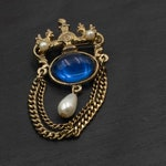 Vintage Victorian Chatelaine-Style Gold-Toned Blue Glass Faux Pearl Brooch pin retro antique wedding dangle elegant articulated ornate gift