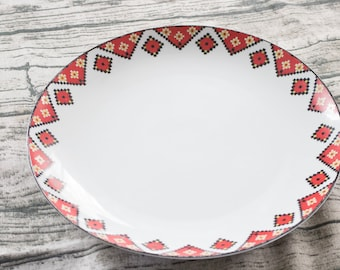 Vintage Red and Yellow Pixel Serving Platter | pixel decor geeky home decor dinnerware best selling antique
