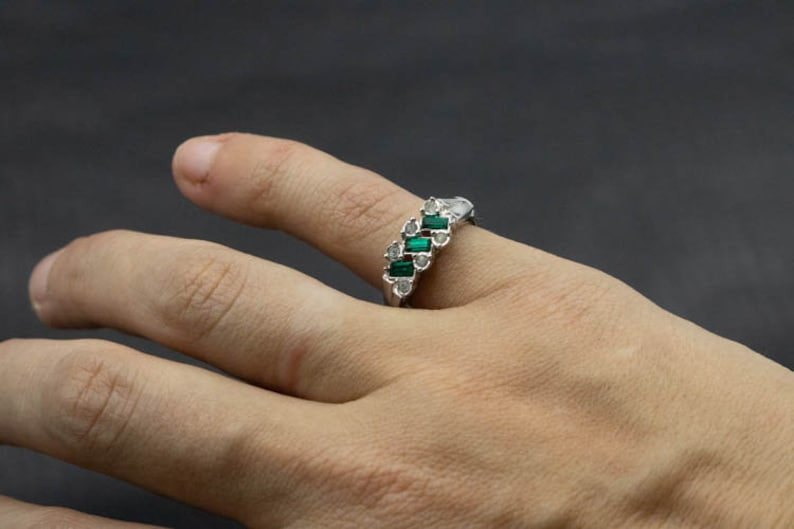 Vintage Avon Silver Toned Ring with Green and Clear Rhinestones Size 7 victorian art deco statement promise everyday dainty stacking gift